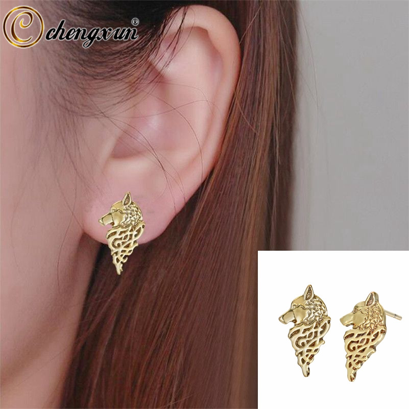 CHENGXUN Viking Wolf Image Men Earrings Female Punk Antique Cool Style Boyfriend Gift Wild Symbol Women Stud Earring
