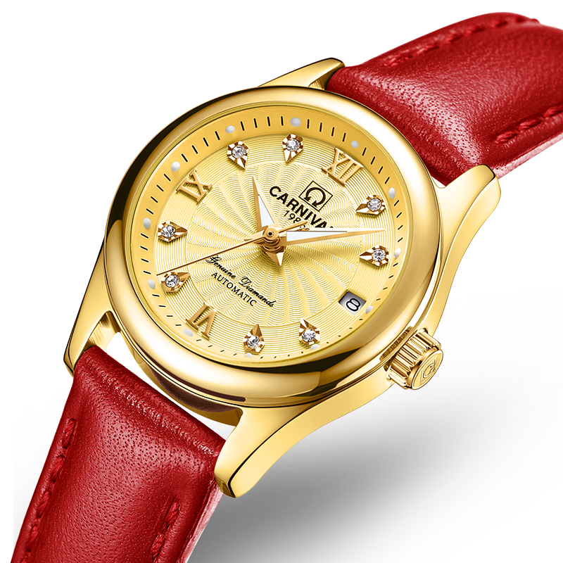 Carnival Women Watches Luxury Brand ladies Automatic Mechanical Watch Women Sapphire Waterproof relogio feminino C-8830-14 2017 carnival luxury brand mechanical watch women leather bracelet waterproof sapphire mirror stainless steel automatic watches