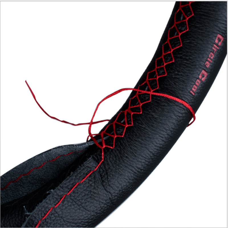 2019 new fashionable leather protection car steering wheel breathable non slip PU leather soft hand woven cover DIY 38 cmcar