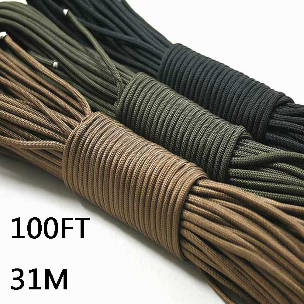 Paracord 550 Parachute Cord Lanyard Rope Mil Spec Type III 7 Strand 100FT 31m Climbing Camping survival equipment Climbing rope iqiuhike multifunction parachute 550 popular type iii 7 strand paracord cord lanyard mil spec core 100ft camping survival tool