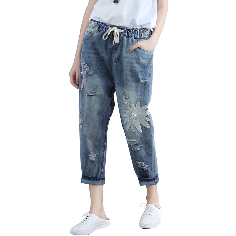 4XL High Waist   Jeans   Women Ripped Hole Harem Pants Plus Size   Jeans   For Women Elastic Waist Vintage Loose Mom   Jeans   Femme Q1109