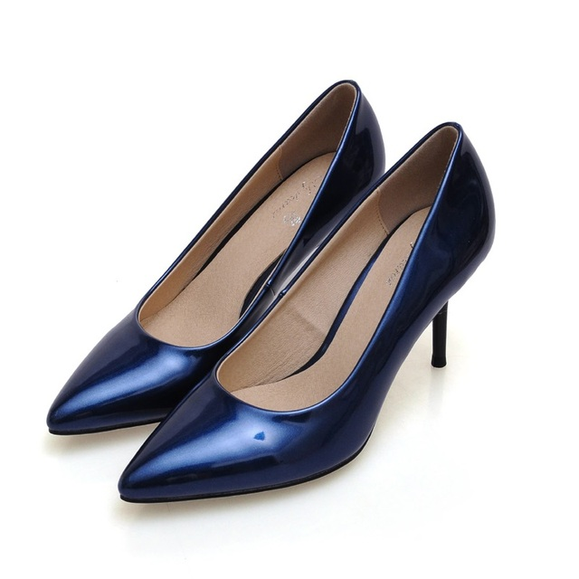 2017 Size 34-41 Fashion Sheepskin Blue 3 inch Sexy Pointed Toe High Heels Women Pumps Ladies Shoes Woman Chaussure Femme