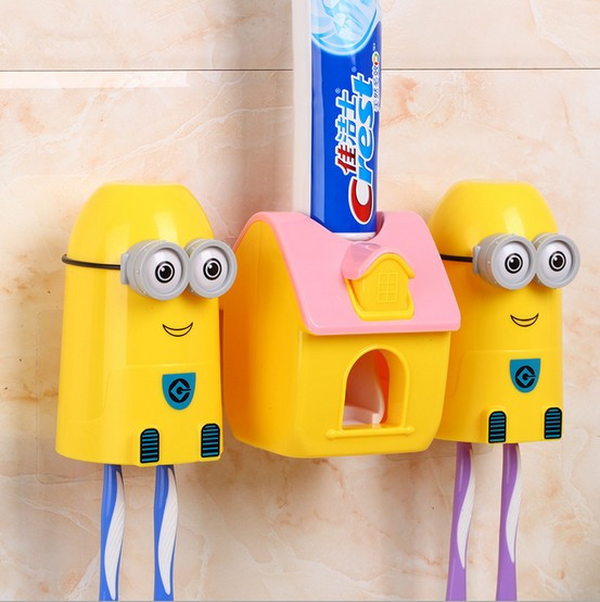 1PC Small Yellow Toothbrush Holder Automatic Toothpaste Dispenser Squeezing Device with Cup Bathroom Accessories Set OK 0442