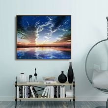 Laeacco Natural Landscape Sea Blue Sky Sunshine Poster and Print Abstract Modern Canvas Painting Home Living Room Bathroom Decor
