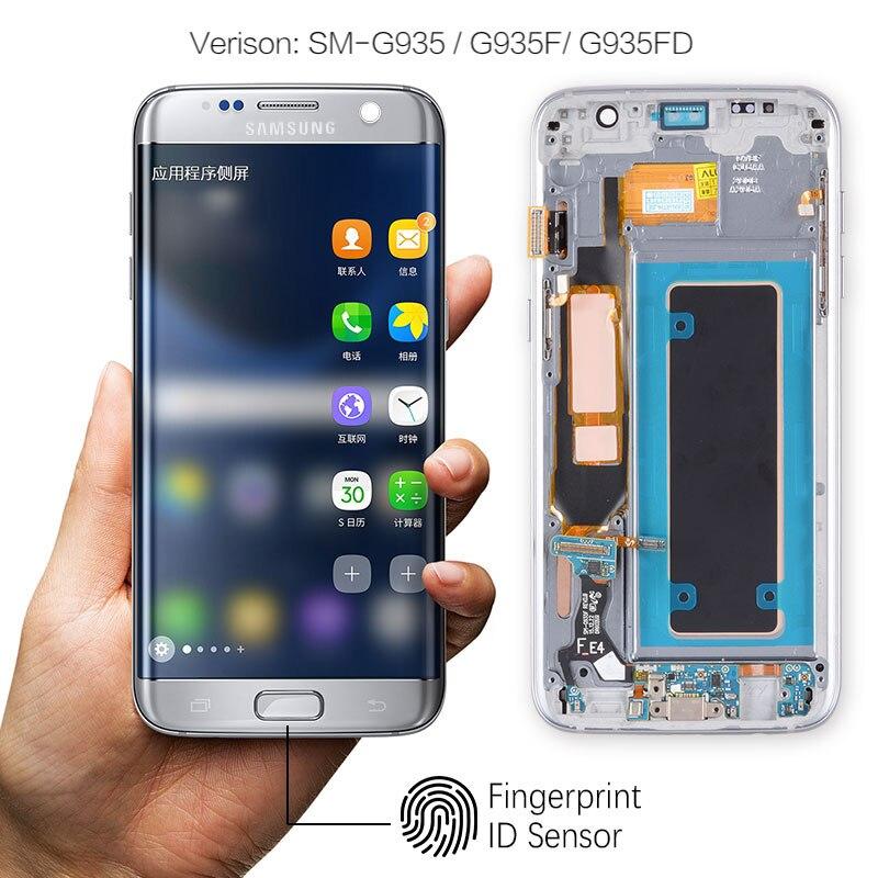 ORIGINELE Super AMOLED Display Voor SAMSUNG Galaxy S7 Rand LCD Touch Screen Digitizer Vergadering met Frame Vervanging G935F G935 - 3