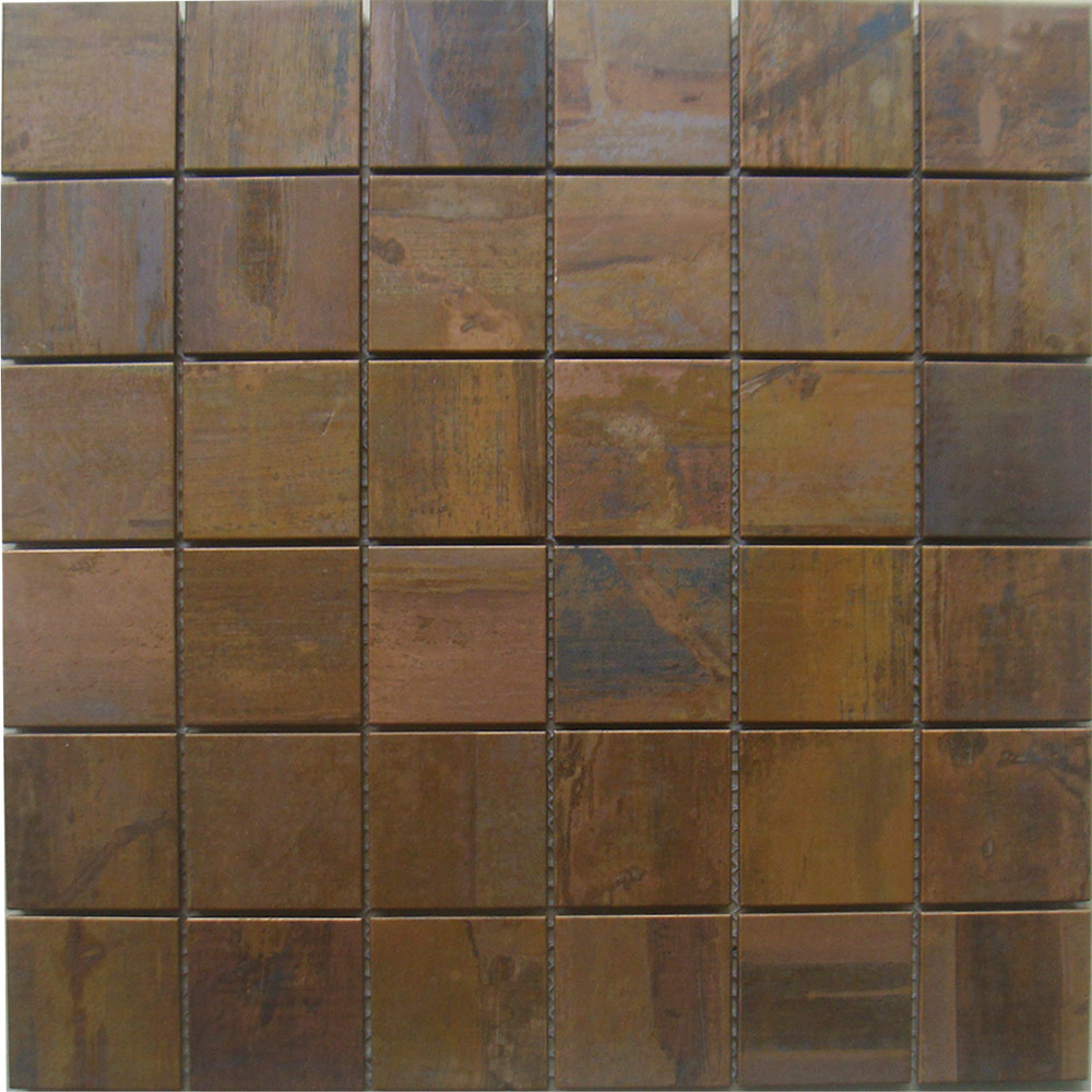 Mosaic Tiles 2x2 Squared Copper Kitchen