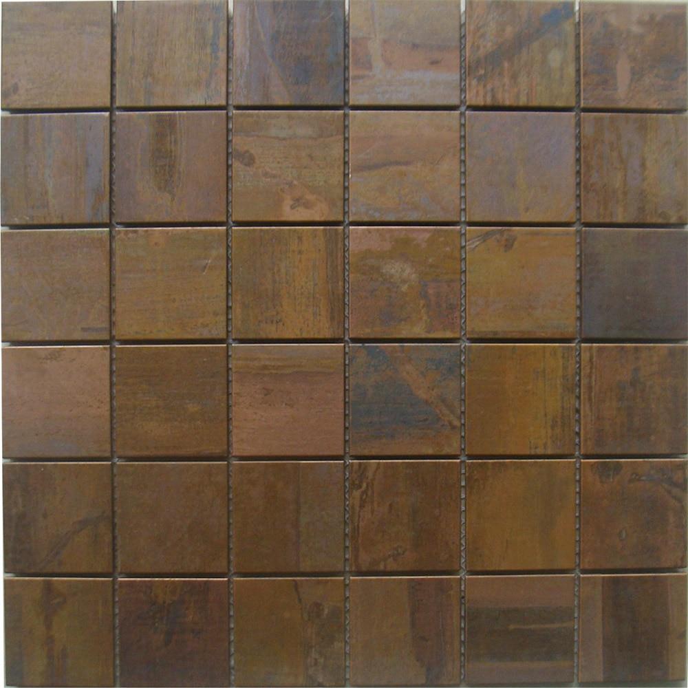 mosaic tiles 2x2 squared copper kitchen backsplash tile tawers metal antique bathroom wall mirror antique tile home walls decor