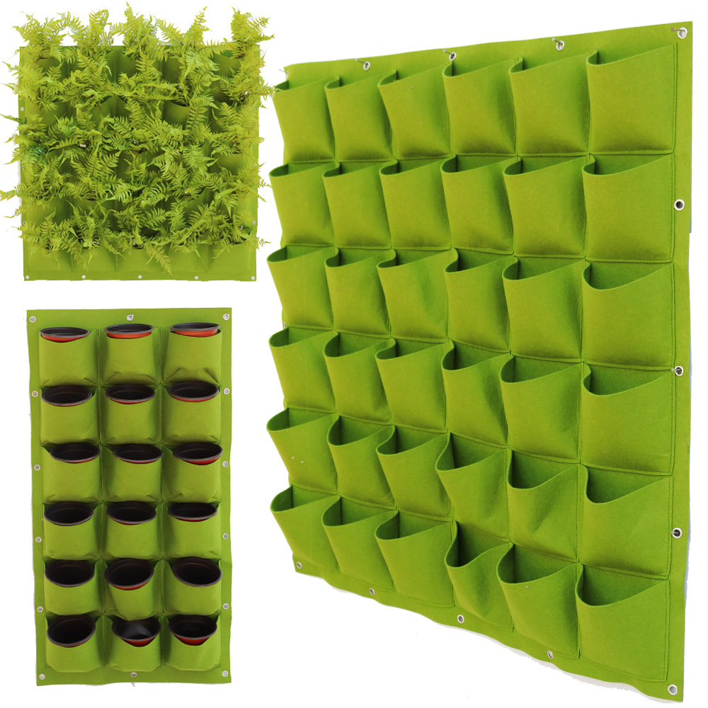 Vertical Garden Wall Planter 4/9/18/49 Pocket Grow Bag Flower Hanging Felt Planting Bag Indoor Garden Growing Pot Home Supplies