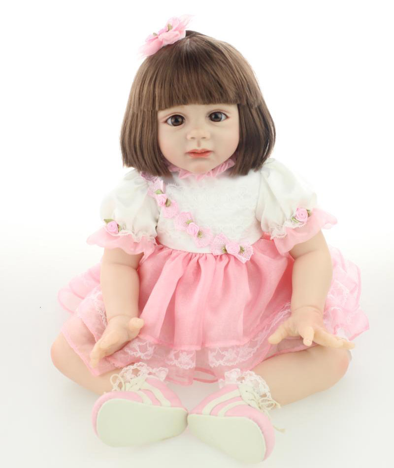 New 60cm Lovely Little Girl Soft Silicone Reborn Fridolin Doll Rooted Smooth Hair 24 High-end Girl Gift Toy Clothing Model new arrived 55 60cm silicone reborn baby dolls fridolin sweet girl real gentle touch rooted human hair with pink dress newyear