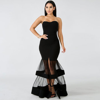fashions Vintage Strapless evening dress elegant Lace formal dress Long evening gown sexy party gown robe de soiree