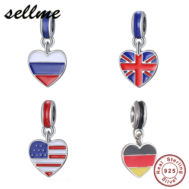 5199d9192 925 Sterling Silver Charm Enamel UAS UK Russia Germany Italy Flag Beads Fit  Original Pandora Charms Bracelet Fashion Jewelry