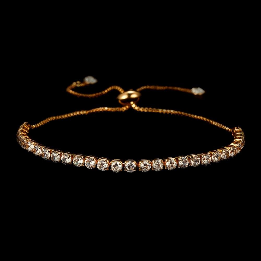RINHOO Fashion Cubic Zirconia Tennis Bracelet & Bangle Adjustable Pulseras Mujer Charm Bracelet For Women Bridal Wedding Jewelry 5