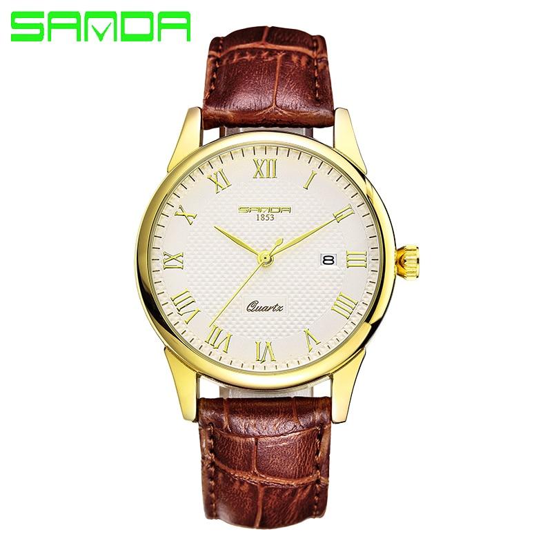 New SANDA Quartz Watch Lovers Watches Women Men Dress Watches Leather Dress Wristwatches Fashion Casual Watches