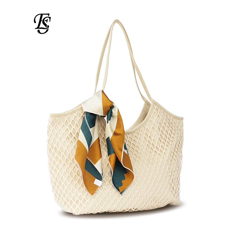 E.SHUNFA brand Canvas Mesh Beach Bag 2018 New Arrival Fashion Large-capacity Female Handbag Scarves Casual women Shoulder Bag