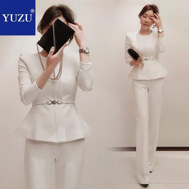 cc3d178793e White Pants Suit Women Winter Suits Zipper Office Two Piece Set With Belt  Jacket+ High Waist Wide Leg Pants Set Blazer Sets