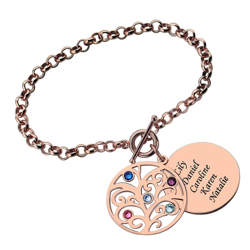 Engraved Family Tree Bracelet with Birthstones Rose Gold Color Disc Mother&Birthstone Bracelet Family Tree Jewelry engraved family tree bracelet with birthstones rose gold color disc mother