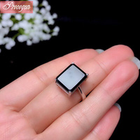 Natural Sapphire rings 10x14mm 9.0Ct Genuine Gemstone male unisex rectangle Rings 925 Sterling silver fine Jewelry #1055