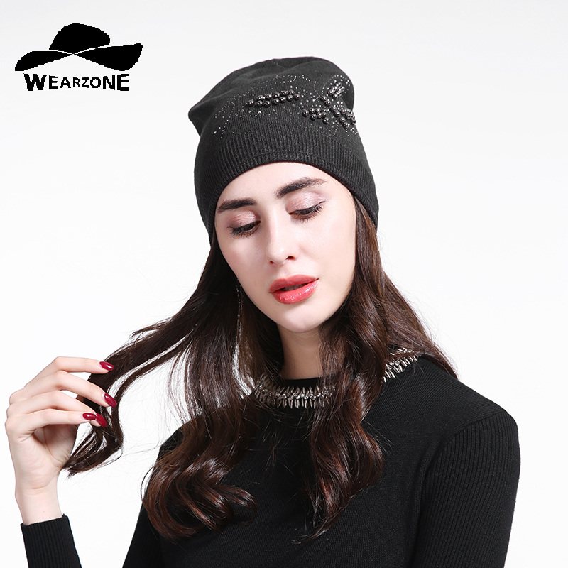 Fashion Autumn Knitted Hat Female Bevel Rhinestones Winter Hats Women Cashmere Wool Gravity Falls Cap 2017 Girl Beanies 2017 new fashion autumn and winter wool leaves hollow out knitting hat thick female cap hats for girls women s hats female cap