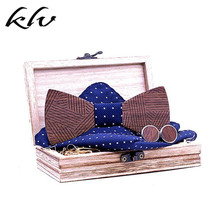 Men Wooden Bow Tie Set Striped Wood Bowtie Handkerchief Cufflinks Sets With Box For Wedding Gift