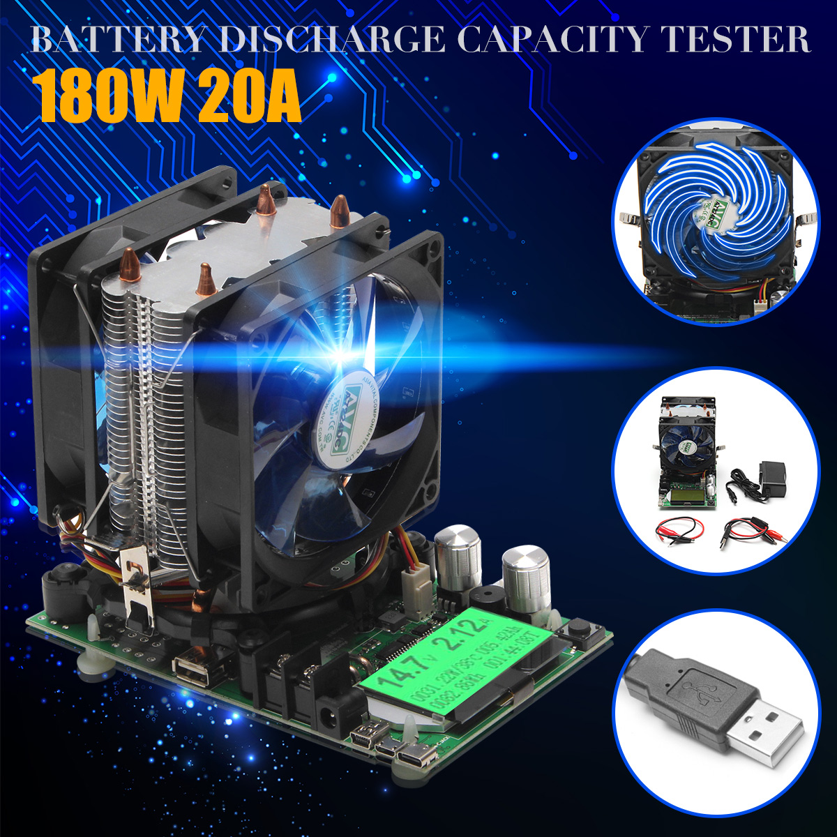 Professional 200V 20A 180W adjustable Constant Current Electronic Load Battery Discharge Capacity Tester Meter Lead-acid lithium battery capacity testing electronic load nicd and nimh mobile power supply tester tec 06 lithium battery