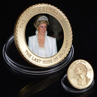 WR The Last Rose of England 24k Gold Coin Collectible Princess Diana Commemorative Gift Coins Business Souvenir Gifts
