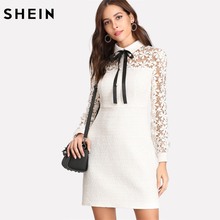 SHEIN Elegant Ladies Dresses White Long Sleeve Dress Beaded Zipper Back Sheath Dress Daisy Lace Sleeve Tie Neck Tweed Dress
