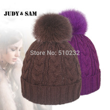 Women Winter Hats with Real Big Fox Pompoms detachable Caps Hats For Women Warm Woolen Knitted Beanie Skully Wool Hat Beanies