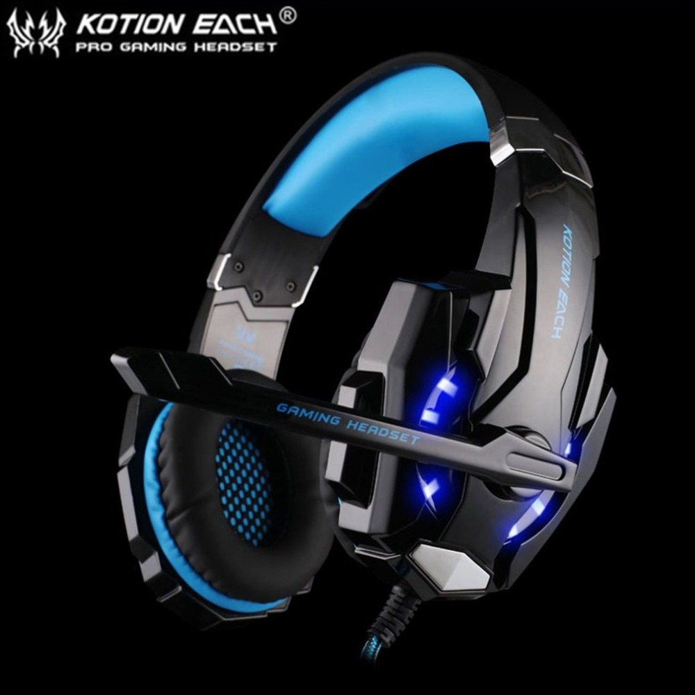 EACH G9000 3.5mm Gaming Headphone Microphone USB Single Hole Headset LED Light For PS4 Laptop Tablet Mobile Phones image