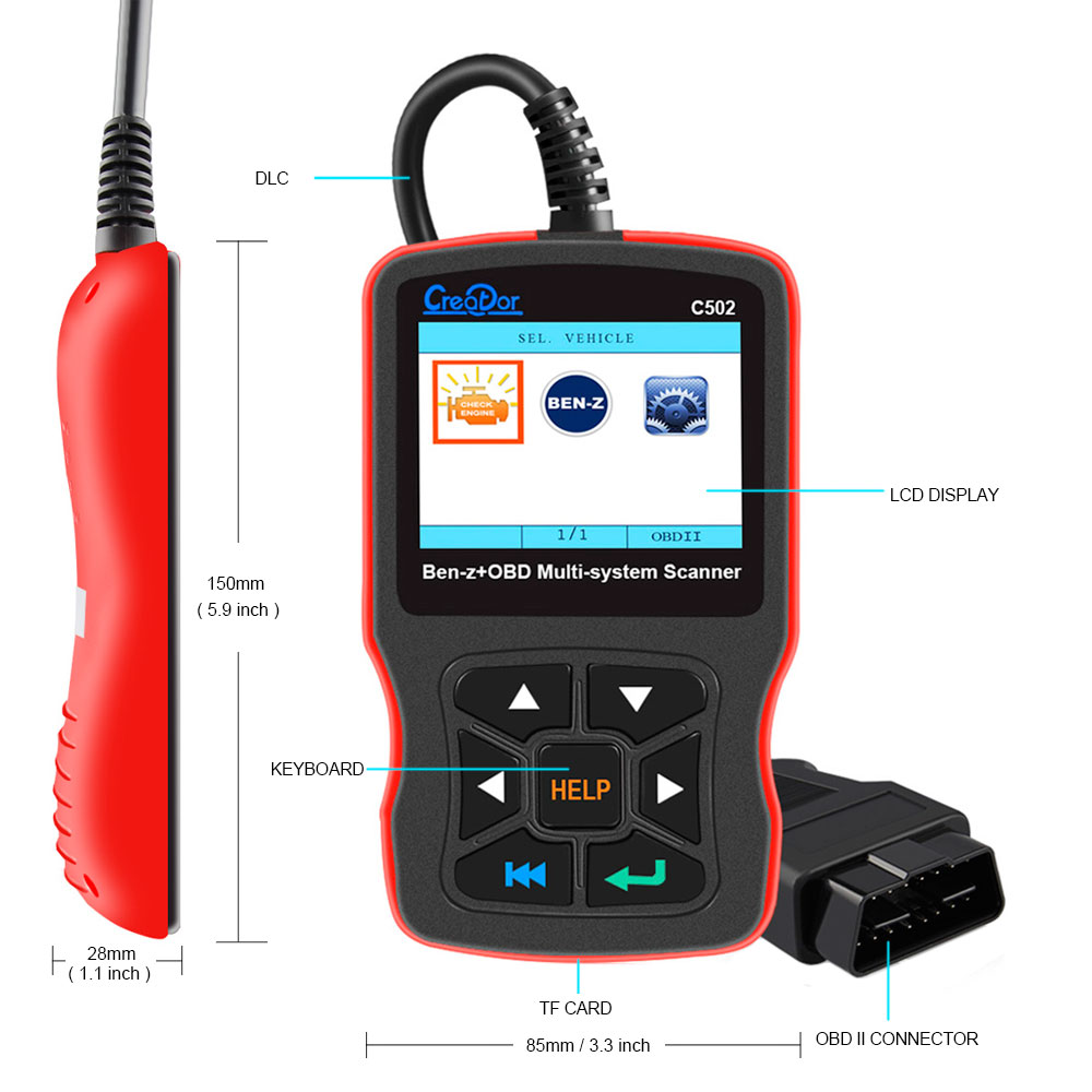 Buy Newestobd2 Car Diagnostic Tool Creator C502 Mercedes Benz Check Engine Automotive Scanner For W211 W203 W124 Obd2 Fault Code Reader From