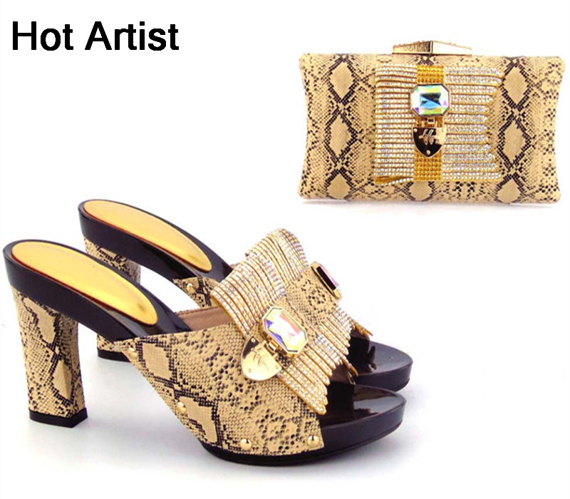 Hot Artist New Design PU Leather Fashion Shoes And Bag Set African Style Woman High Heels Shoes And Bag Set For Party TX-567 2016 spring and summer free shipping red new fashion design shoes african women print rt 3