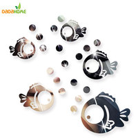Bubble Fish Bathroom Acrylic Mirrored Decorative Sticker Wall Art Mirror Decorative Wall Sticker Bedroom Secor Room