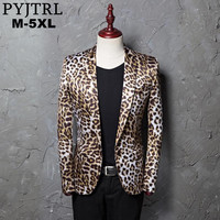 PYJTRL Brand M 5XL Tide Men Leopard Print Fashion Leisure Blazer Masculino Slim Fit Suit Jackets