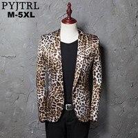 PYJTRL Brand M 5XL Tide Men Leopard Print Fashion Leisure Blazer Masculino Slim Fit Suit Jackets