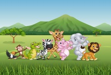 Laeacco Jungle Party Cartoon Elephant Lion Baby Bird Photography Backgrounds Customized Photographic Backdrops For Photo Studio