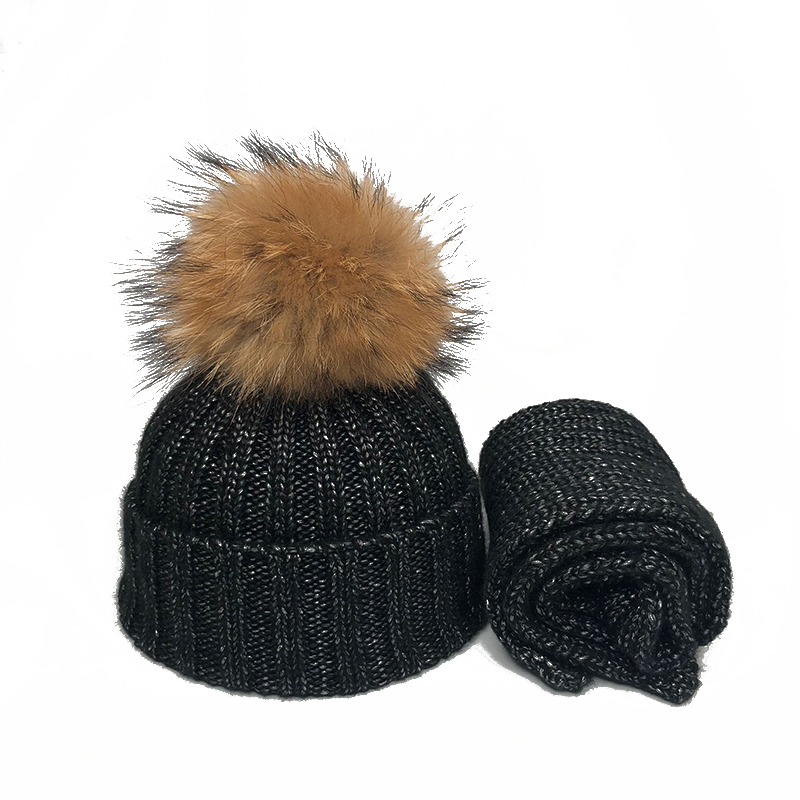 Kids Winter Hat Children Real Fur Pompom Knitted Beanie Hat Scarf 2 Pieces Cotton Skullies Boys GIrls Pompon Cap