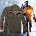 Nueva Llegada de Juego Battlefield 4 Hoodie Verde Oliva Sudadera Escudo Zip Up Ropa Cosplay para los Hombres