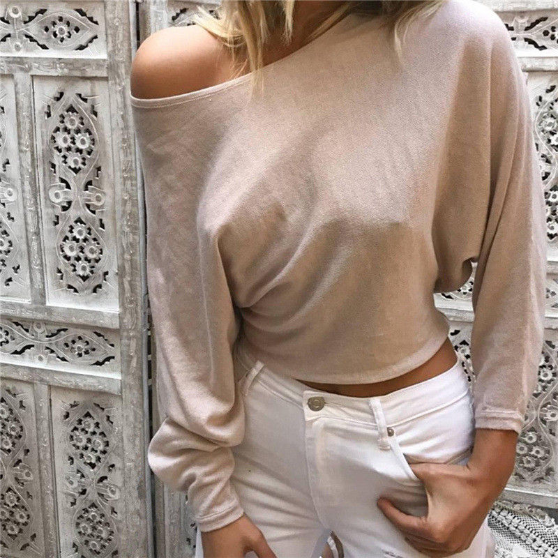 2017 Fashion Women's Casual Solid Long Sleeve Crop Neck Top T Shirt Summer Loose Tops Tees Shirts