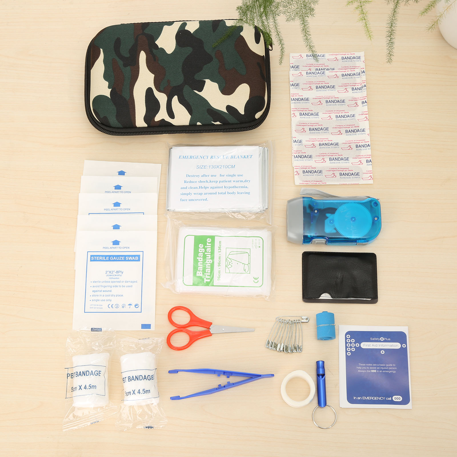 16Set(39pcs) Travel/Car First Aid Kit Eva Bag Medical Emergency Survival Kits Pouch Portable Treatment Pack world map camouflage
