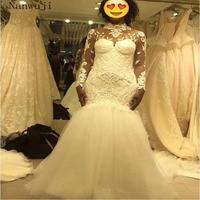 2018 Lace Mermaid Wedding Dress Long Sleeve Turkey Vestido de Novia Sequin Lace Sheer Illsion Robe mariee Sexy Wedding Dresses