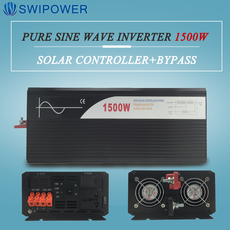 pure sine wave solar power inverter 1500w 12V/24V DC to AC 120V/220V with solar controller with bypass