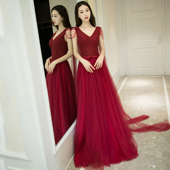 Wine Red Long Evening Dresses Beaded Tulle A Line Backless Formal Prom Dress Party Gowns Robe De Soiree With Waltz Train
