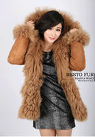 GTC207 New Style Fashion Winter Warm Women Natural Lambskin Shearling Coat With Lamb Fur Collar Fur