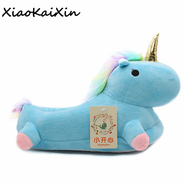 1564016f139b Lovely Cartoon Home Slippers For Men Women Warm Soft PP Cotton Plush Indoor  Unicorn House Shoes unicornio licorne Fit Cosplay