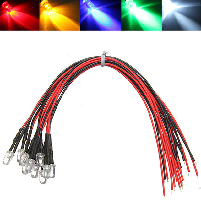 100pcs 5V/12V/24V Red/green/blue/white/warm White/orange/RGB Color Optional With Resistance And 20cm Cable Pre-Wired Led