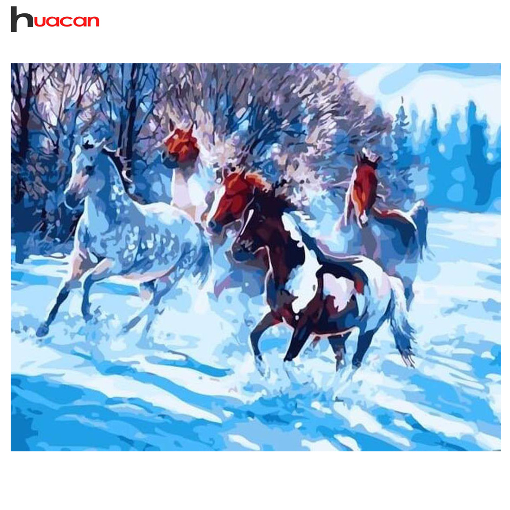 Diamond Embroidery Winter Horse Cartoon Painting of Resin Drill Full Square Diamond Painting Cross Stitch Needlework Craft