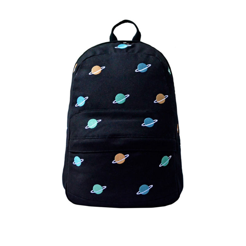 Kiitos Life Canvas embroider backpacks for boys&girls in flight series in planet (FUN KIK store) yizi portable macaron colored transparent mesh cloth backpacks for girls and boys [fun kik]