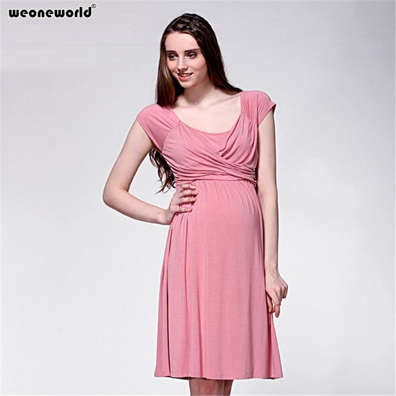 6508375ad8f04 WEONEWORLD New 2018 Fashion Maternity Dresses Casual Cotton Pink Pregnancy  Clothes Summer Dress Clothes for Pregnant Women