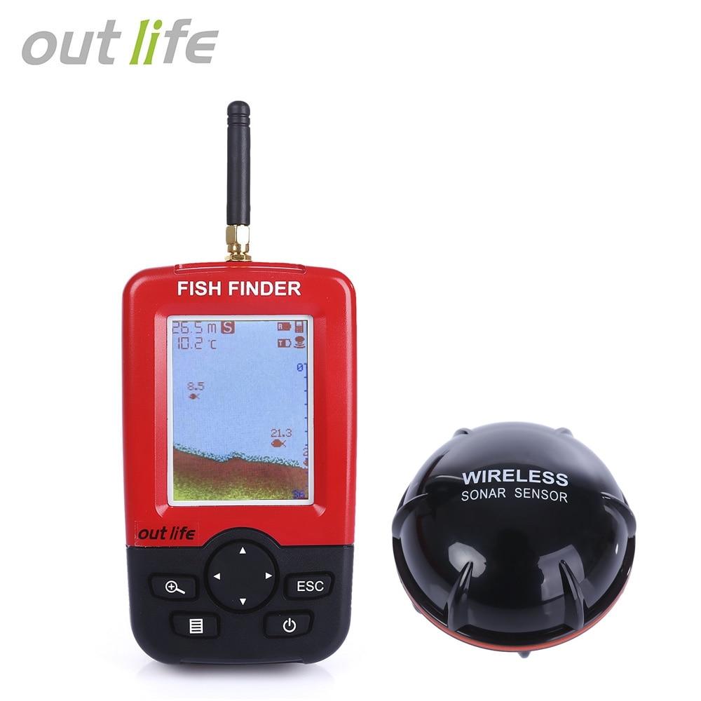 Outlife 100 M buscador de peces Sonar sirena alarma transductor Fishfinder pesca inalámbrica eco sirena con carga USB en inglés