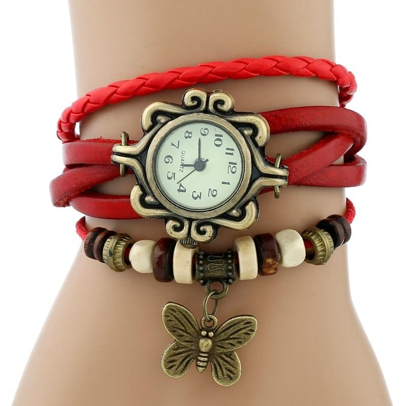 Gnova платины Кожаный Браслет Бабочка Леди Винтаж наручные часы мятно-зеленый розовый фиолетовый Этническая мода A887 - Цвет: Красный