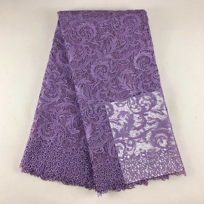 Dubai african lace fabric Lilac lace top quality guipure cord lace with beautiful rulex 5 yards